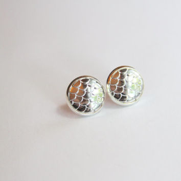 NEW - Mermaid Scale Silver Earrings - Posts/Studs 12mm LARGE