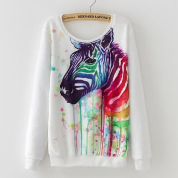 2017 New hoodies women Ink Painting Horse Pattern Print Winter Warm Flannel Sweatshirt  pullover tops