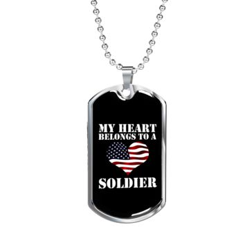My Heart Belongs To A Soldier - Luxury Dog Tag Necklace