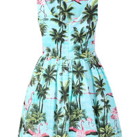 Blue Trees And Flamingo Printed Skater Dress