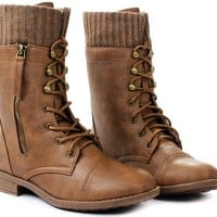 Women Justina58 Leatherette Sweater Cuff Lace Up Decorative Zipper Mid Calf Ankle Combat Boots