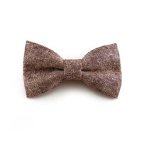 Rust red chambray clip on bow tie – adult size mens or womens – linen cotton blend – rustic clip-on bowtie