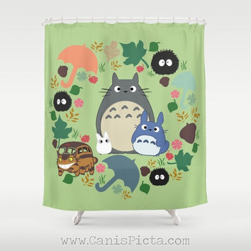 "Totoro Kawaii My Neighbor Shower Curtain 71""x74"" Anime Decorative Soot Catbus Green Grey Blue White Manga Troll Hayao Miyazaki Studio Ghibli"