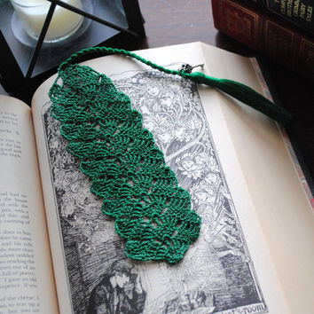 Crochet bookmark, green with a long tassel and charms