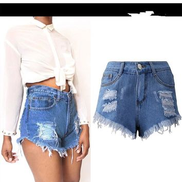 High Waist Denim Shorts Female Plus Size Summer Loose Ripped Hole Women's Short Jeans Casual Denim Shorts Femininos Hot Sale