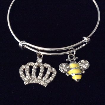 Queen Bee Crown Crystal Adjustable Bracelet Silver Expandable Charm Bangle Trendy One Size Fits All Gift
