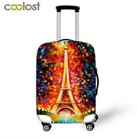 DCCKU62 Oil Painting Eiffel Tower High Elastic Luggage Protective Cover Travel Accessories For 18-28 Inch Luggage Carrier Suitcase Cover