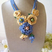 Crochet flower necklace jewelry fashion crochet statement necklace boho chic handmade gift for her accessoire for her Embroidery Necklace