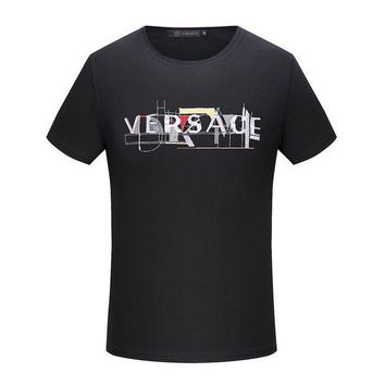 ESB3HD Versace  Women or Men Fashion Casual Letter Embroidery Shirt Top Tee