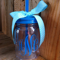 Blue Monogram mason jar tumbler.  Personalized gifts perfect for Mother's Day