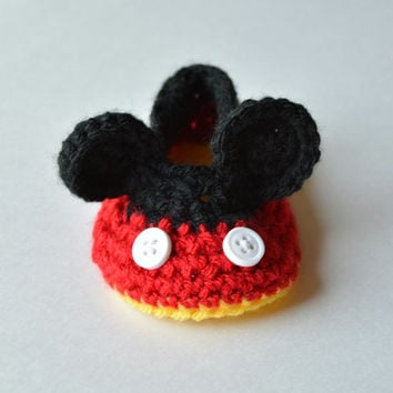 Disney Mickey Mouse Baby Booties, Crib Shoes, Adorable New Baby or Baby Shower Gift