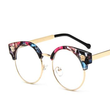 Floral Stylish Street Versace Women Fashion Glasses