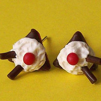 Cakes stud earrings polymer clay fimo handmade