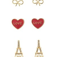 Gold Eiffel Tower Stud Earrings - 3 Pack by Charlotte Russe