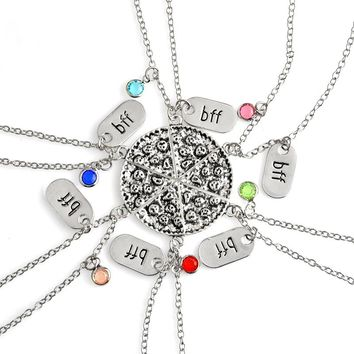 6pcs/set BFF Pizza Pendant Necklace For Women Men Family Friends Colorful Crystal Rhinestones Sweater Chain Friendship Jewelry