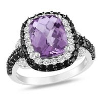 Cushion-Cut Amethyst, Black Spinel and Lab-Created White Sapphire Ring in Sterling Silver
