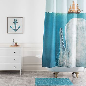 Terry Fan The Whale Shower Curtain