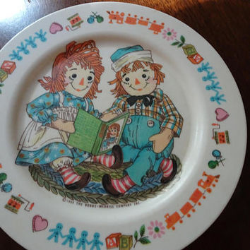 Raggedy Ann Dishes, Vintage Raggedy Ann, Raggedy Andy, Onieda Kids Dishes, Raggedy Ann and Andy, Vintage Children's Dishes, l969 Onieda Dish