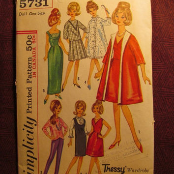 SALE Uncut 1960's Simplicity Sewing Pattern, 5731! Tressy Doll Wardrobe/Toy Doll Clothes/Retro Teen Model Dolls/Coats/Pants/Dresses/Shirts