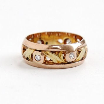 Vintage 14k Yellow Rose Gold Gypsy Set Diamond & Leaf Motif Ring - Size 5 1940s Dated 9-30-48 Fine Jewelry Wedding Band
