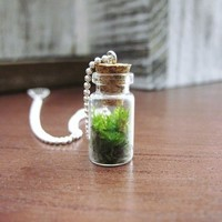 Live Moss Mini Terrarium Pendant - Necklace Charm with Sterling Silver Hook