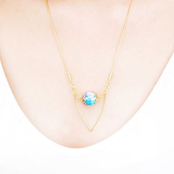 Gold plated geometric necklace /Geometric gold plated brass with  bead pendant / Bridesmaid gift / statement necklace