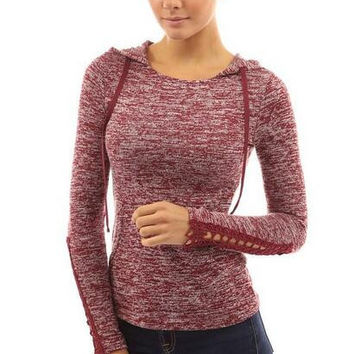 Crochet Lace Sleeve Hoodie T-Shirt  12459