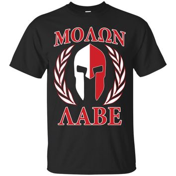 Molon Labe Laurels Mask in Red t-shirt