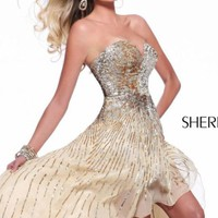 Sequined Strapless Gown by Sherri Hill