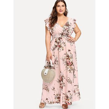 Plus Flounce Trim Shirred Waist Floral Dress Multicolor