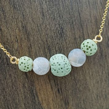 Mint Green & White Gold Aromatherapy Necklace Essential Oil Diffuser Necklace