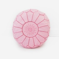 Moroccan Leather Pouf, Baby Pink