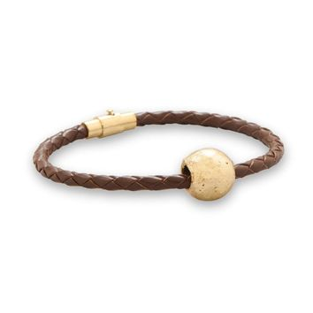 """7"""" African Leather Bracelet with 22K Gold Plated Brass Bead"""