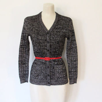 Vintage 1970s Jeana / Black & Silver Lurex / Metallic Space Dye Knit Cardigan / Fitted Sweater