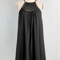 LBD Mid-length Spaghetti Straps Shift, Tent Trapeze-y on the Eyes Dress in Black