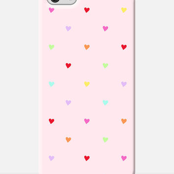 HEART print iphone 6 case, polka dot pattern cover, love heart pattern, cute iphone 6 case, red heart print, girly iphone 6 case, heart case
