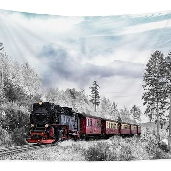 Train In Winter - Tapestry