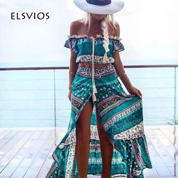 ELSVIOS 2017 Floral Printed Women Long Dress Sexy Side Split Two Piece Dress Summer Off Shoulder Short Sleeve Boho Maxi Dresses