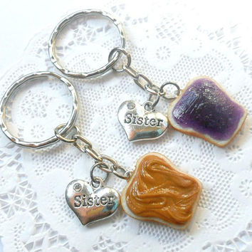 Peanut Butter and Jelly Keychain Set, Sisters, Best Friend's Keychains, Cute :D