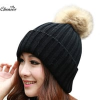 Brand 2016 Women Casual Autumn Winter Hats Beanie Knitted Cap Crochet Rabbit Fur Protect Hats For Women Casual Cap Bonnet Femme