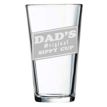 Dads Original Sippy Cup Etched 15.75oz Pint Glassware