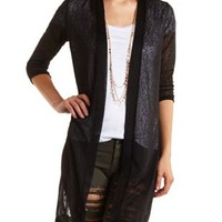 Lace & Sweater Knit Duster Cardigan by Charlotte Russe