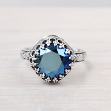 Vintage blue ring sterling silver with Swarovski cushion cut crystal in a crown gallery east west setting on a floral band