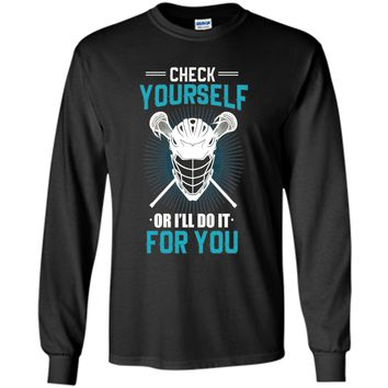 LaX Check Yourself Lacrosse T-Shirt, Lacrosse funny tshirt