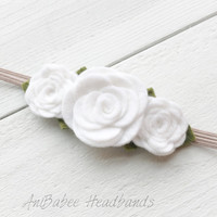 White Felt Flower Headband, baby flower headband, Felt Flower Crown Headband, Felt Baby Headbands, Felt Flowers, Flower Headband
