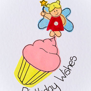 Birthday Wishes Fairy Cup Cake Handmade Greeting Card