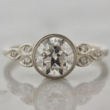 Antique Bezel Set Diamond Engagement Ring | Bethany