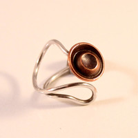 Copper & Origami Paper Ring with Sterling Silver Adjustable Band- size 3, size 4, size 5