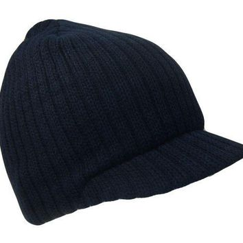 ESBONIA Navy Blue College Style Campus Jeep Visor Beanie Winter Knit Ski Cap Caps Hat