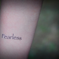 Fearless - Temporary Tattoo - Tattoo Quote - Fake Tattoo - Set of 2